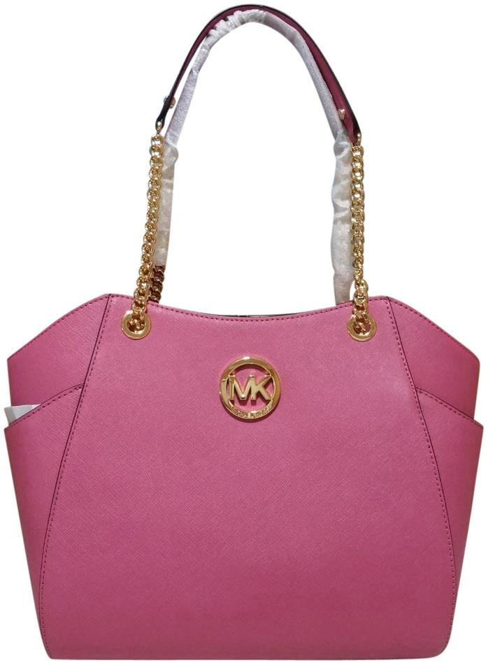 Michael Kors Jet Set Large Chain Shoulder Tulip Pink Leather Tote ... 479223d640093