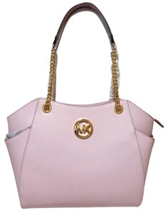 Michael Kors Jet Set Travel Black Signature Chain Tote in blossom pink