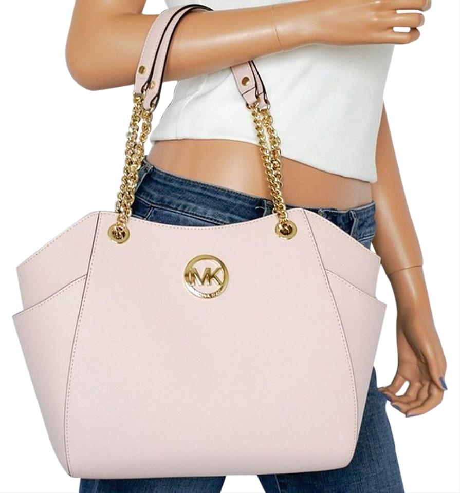 Michael Kors Jet Set Travel Black Signature Chain Tote in blossom pink  Image 0 ... c0ca2ac224ce0