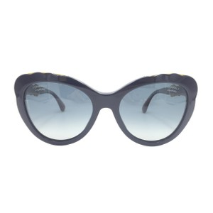 Chanel Cat Eye Dark Blue Gold Polarized Gradient Sunglasses 5354 1544K4