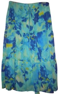First Option Floral Elastic Waist Beads Lined Skirt Multi-Color
