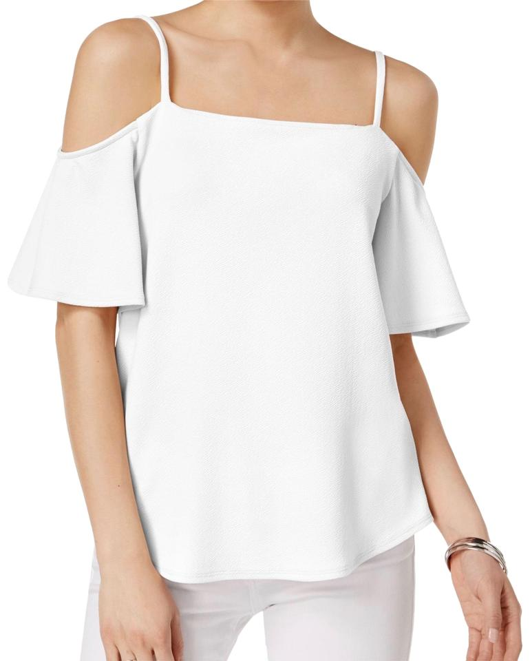 b68438f4e8 Bar III White Crepe Cold-shoulder Blouse Size 8 (M) - Tradesy