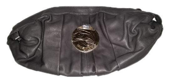 Gustto Cala Leather Hardware Gold Hardware Charcoal Gray Clutch
