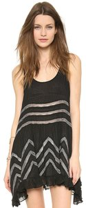 Free People short dress Black Polka Dot Print Lace Trim Sleeveless Tunic on Tradesy