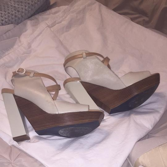 Cole Haan Cream And Wood Sandals