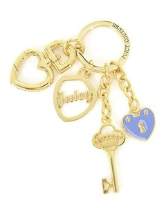 Juicy Couture Black Label Gold Crystal Heart Charm Juicy Keychain Bag Charm WJW1112