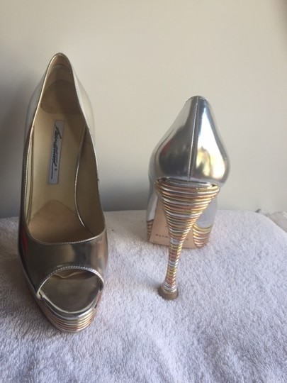 Brian Atwood Silver and gold open toe Pumps
