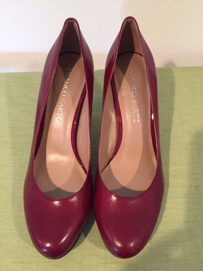 Franco Sarto Red Leather Black Heel New Deep red Pumps