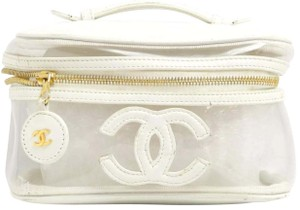 Chanel Lambskin Leather CC Logo Vanity Cosmetic Bag