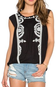 Free People Sleeveless Embroidered Draped Contrast Top Black