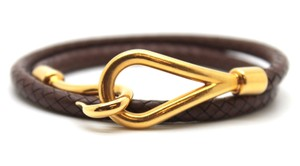 Hermès jumbo gold double tour hook wove leather Cuff Bracelet Bangle