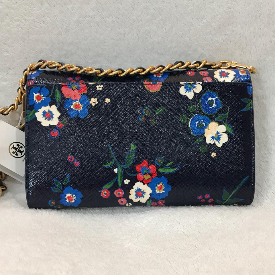 9eb3437eeac Tory Burch Parker Print Chain Wallet Pansy Bouquet Floral Cross Body Bag -  Tradesy