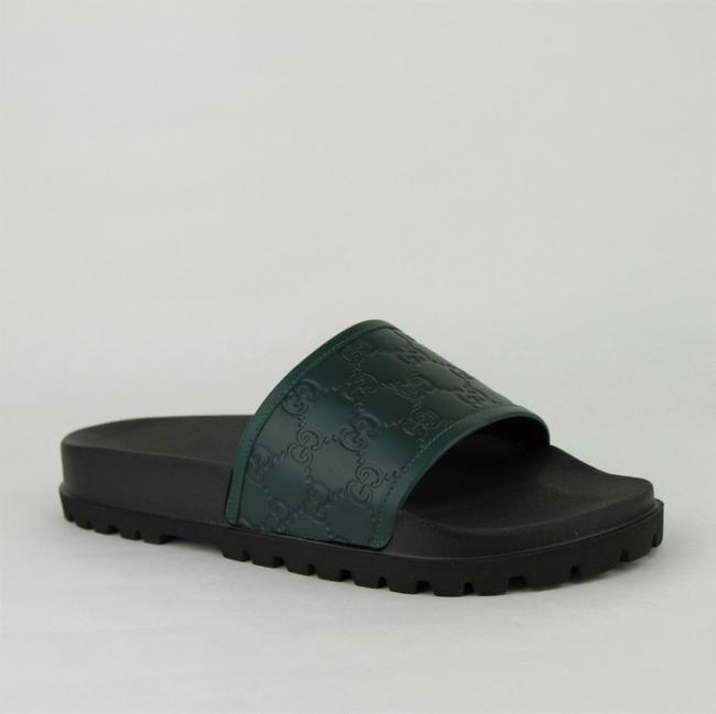 Item - Green/Balck Green/Black Leather ssima Pattern Sandals 7g / Us 7.5 431070 3020 Shoes