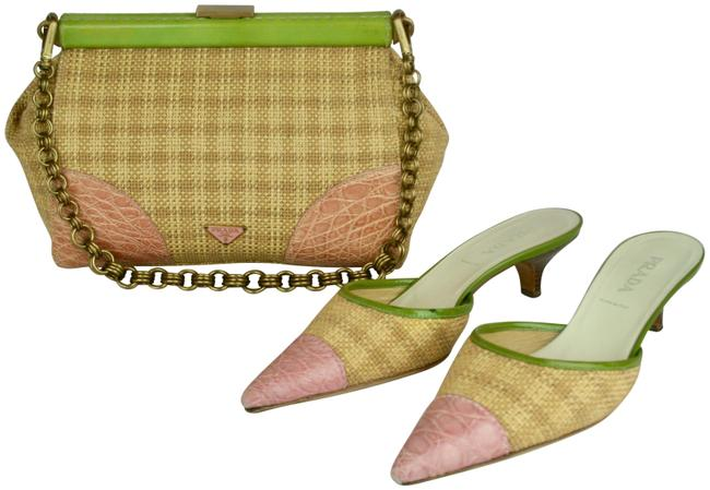 Item - Woven Handbag with Crocodile Pink Green Gold Brown Straw Patent Leather Metal Baguette