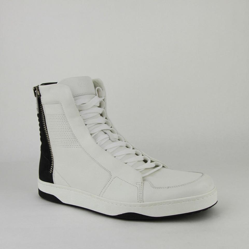 fb3810efec19 Gucci Black White Leather Zip Up Hi Top Sneakers 9g Us 10 386743 9072 Shoes