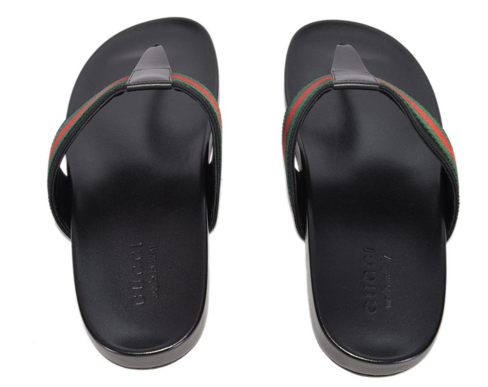 804904503263 Gucci Black New Men s 386768 Red Green Web Slides Thongs 8g Sandals Size US  9 Regular (M