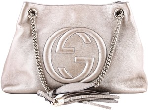 Gucci Leather Soho Tote in Beige