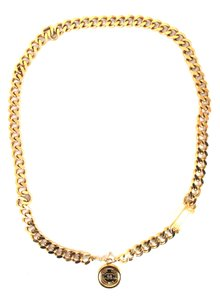 Chanel CC chain wide gold long two way necklace belt