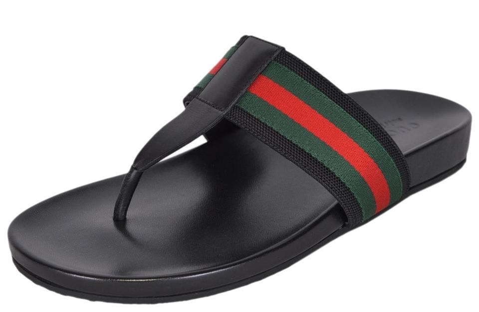 e848ca97d7915 Gucci Black New Men s 386768 Red Green Web Slides Thongs 9g Sandals ...