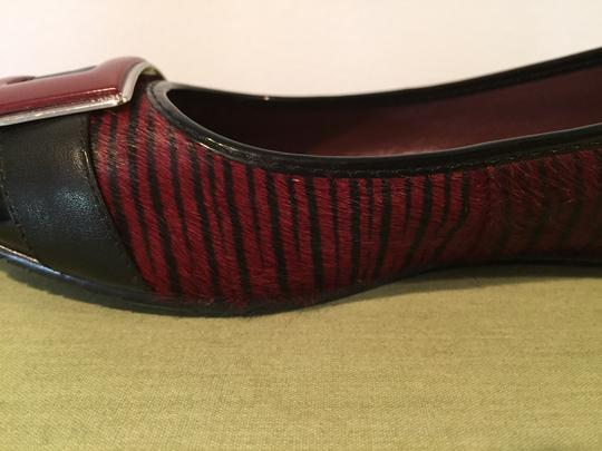 Calvin Klein Silver Unique Pony Hair Zebra Stripe Black and Red Flats