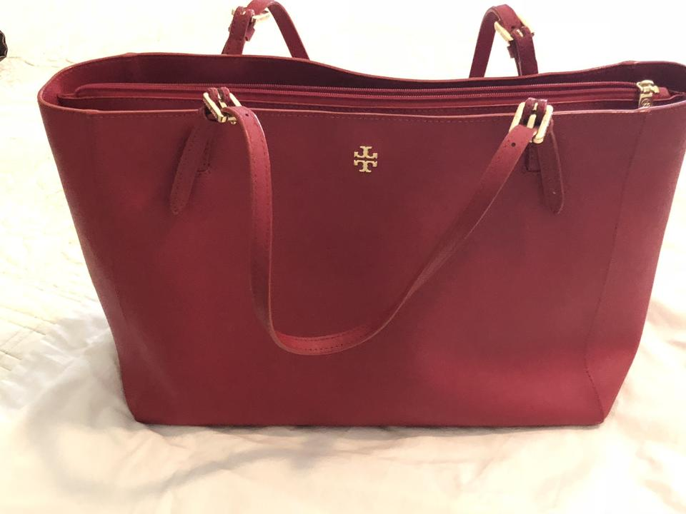 Robinson Burch Red Mm Tote Leather Tory Monogram 6H4q4p