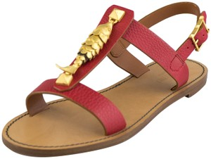 Valentino Leather Made In Italy Red Sandals