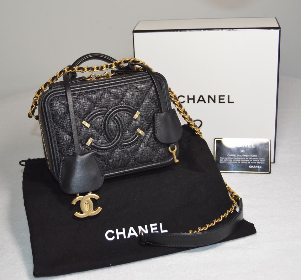 2debd4c1d2ea Chanel Vanity Case Quilted Small Cc Filigree Black Caviar Leather Cross  Body Bag - Tradesy
