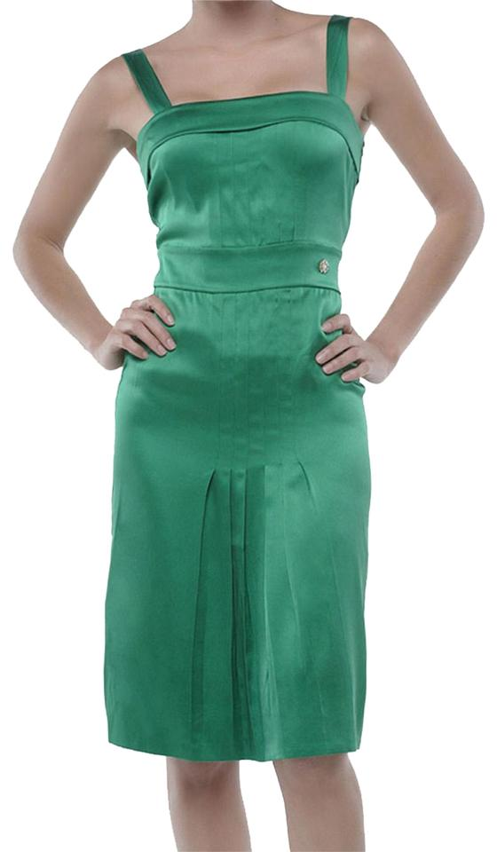 1aae129225f8 Roberto Cavalli Green Pleated Silk Summer Short Casual Dress Size 2 ...