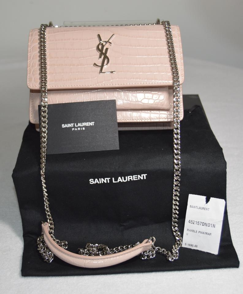 Saint Laurent Monogram Sunset Sunset Marble Pink Croc Embossed Leather  Shoulder Bag 41acea075dedb