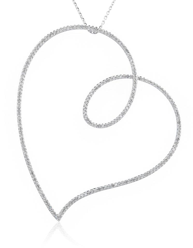 White gold 14kt 56 cttw diamonds large heart pendant sterling jmd lux 14kt white gold 56 cttw diamonds large heart pendant sterling chain mozeypictures Gallery