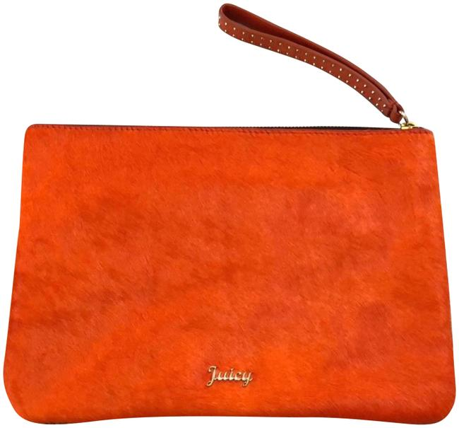 Item - Dual Sided Wristlet Orange and Brown Cowhide Leather Clutch