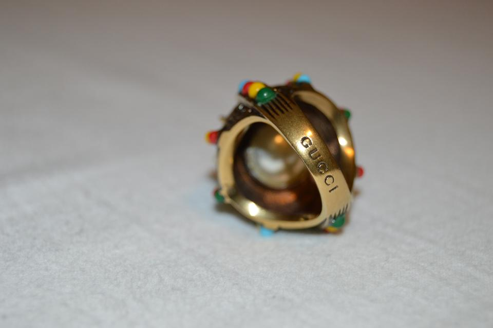 ca9274bef Gucci Gold Spikes and Multi-colored Beads with Aged Yellow Finish ...