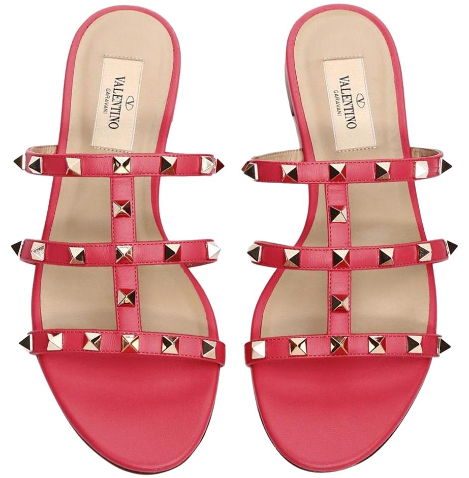 d1c0a927244d Valentino Pink Rockstud Red Fuchsia Leather Gladiator Slide Flat Sandals.  Size  EU 36.5 ...