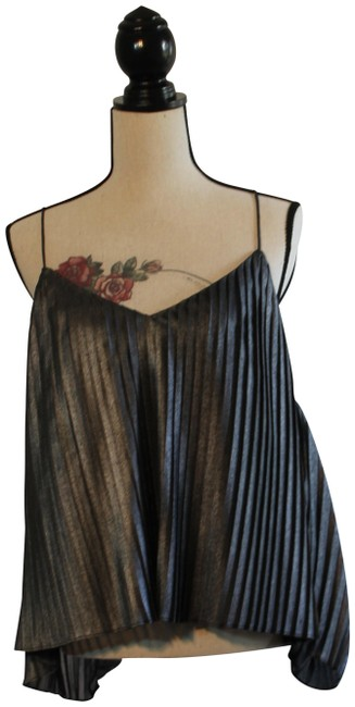 Item - Silver Gray Womens Metallic Pleat Cami Halter Top Size 14 (L)