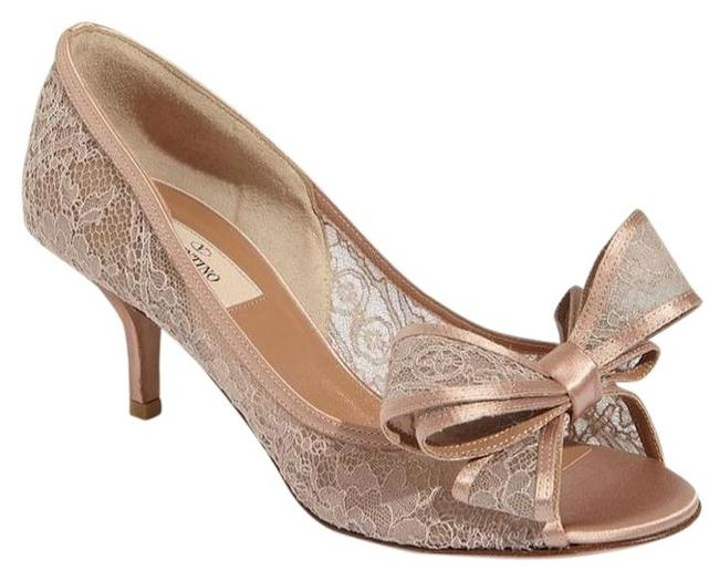 Item - Beige Lace Bow 35.5/5.5 Nude Open Toe Kitten Heel Pumps Size US 5.5 Regular (M, B)