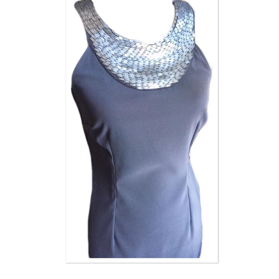 3eaeedfe168a Connected Apparel Gray   Silver Beaded Mid-length Cocktail Dress ...