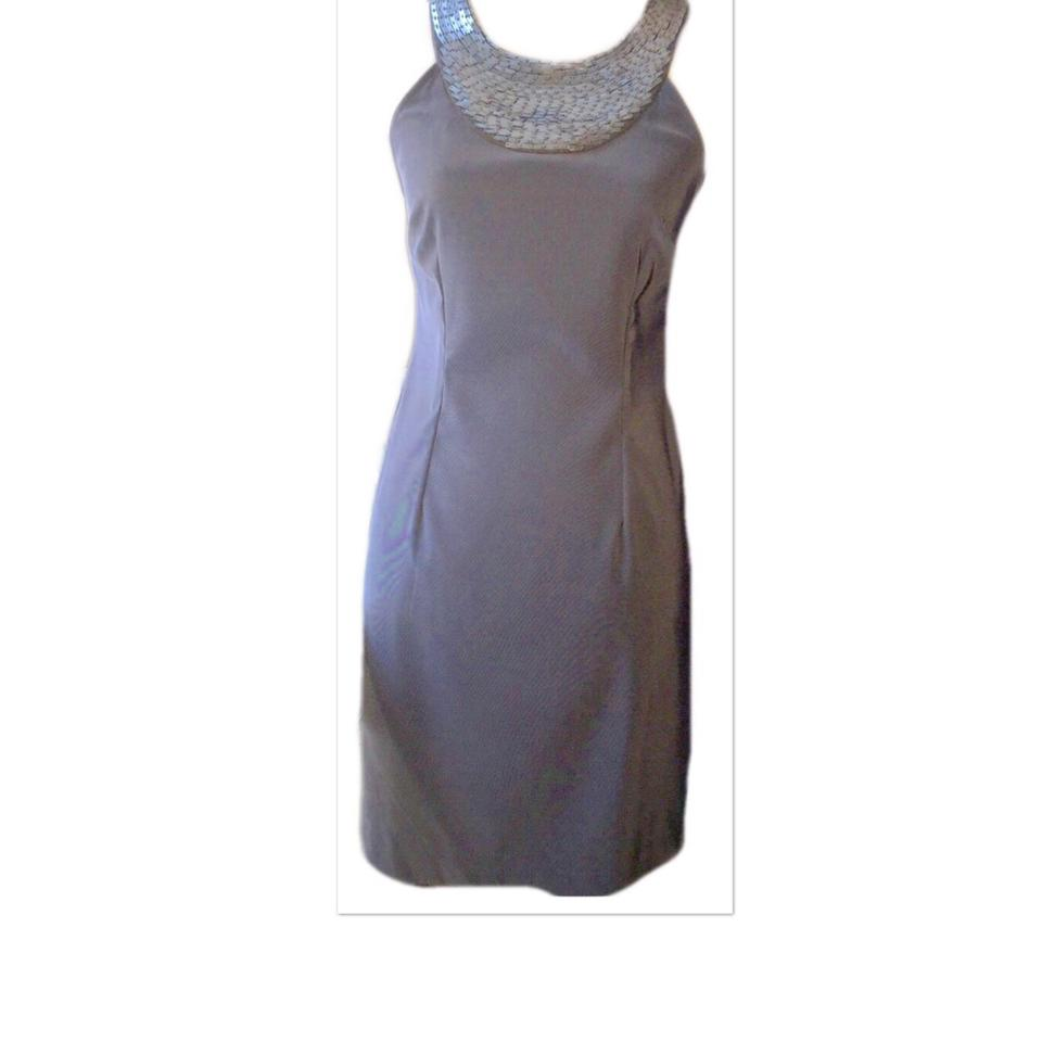 Connected Apparel Gray & Silver Beaded Mid-length Cocktail Dress ...