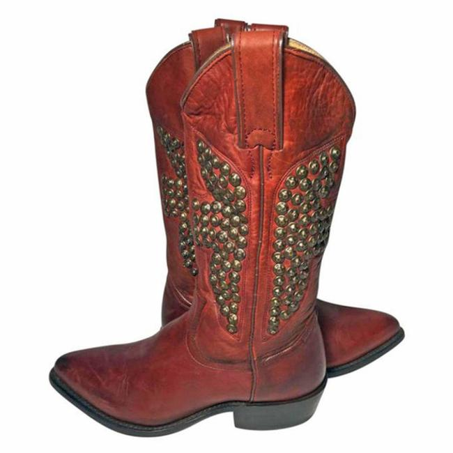 Item - Red 77586 Billy Hammered Stud Leather Cowgirl Women Boots/Booties Size US 6 Regular (M, B)