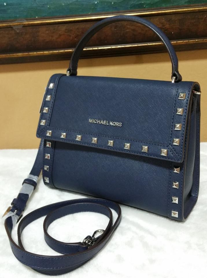 4ee8bcdd49b2 Michael Kors Dillon Medium Stud Messenger Crossbody Navy Silver ...