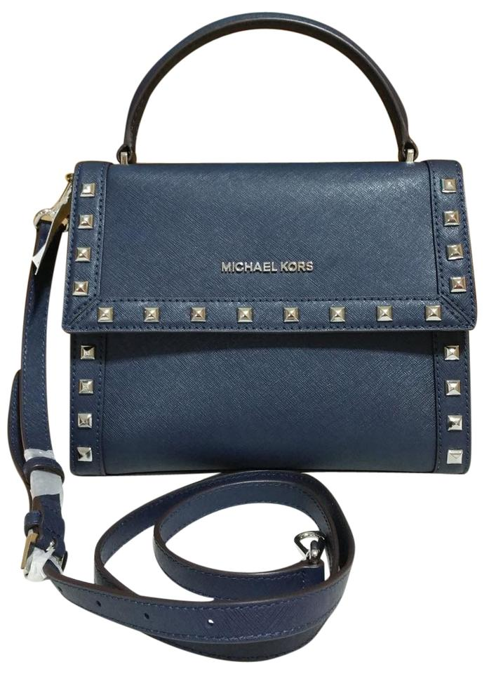 4344e7490774 Michael Kors Dillon Medium Stud Messenger Crossbody Navy Silver Saffiano  Leather Satchel