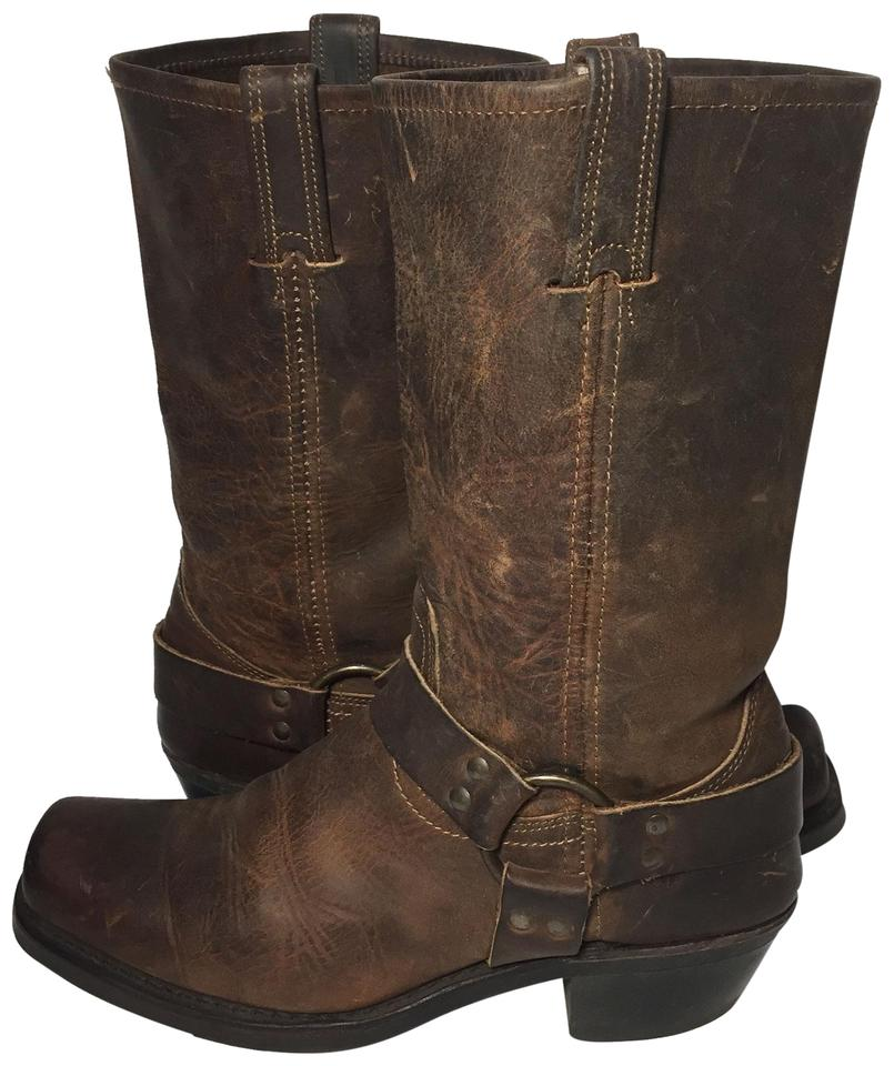 Frye Brown Women's 77300 Leather Harness Motorcycle Women's Brown Boots/Booties 6b20ef