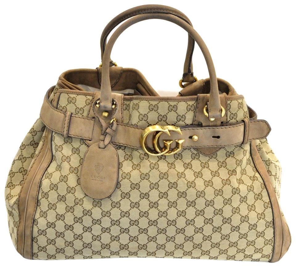 fbe2252c0f4 Gucci Running Medium Beige and Brown Gg Canvas Tote - Tradesy