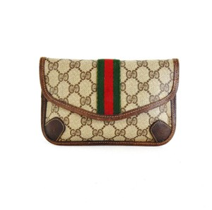 Gucci Vintage Web Monogram Toiletry Italy Brown Clutch