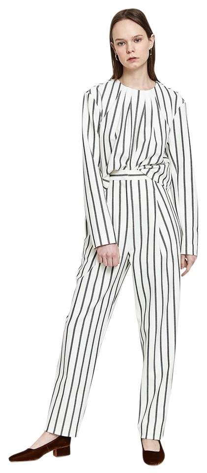 Tibi XS Lucci Stripe Sculpted Long Sleeve Twill Blouse 2018 Black/White  Sweater 73% off retail