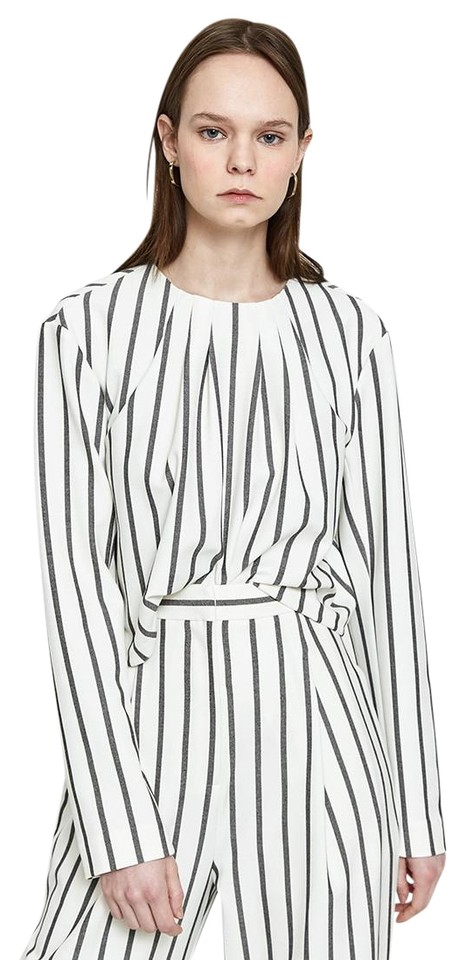 Tibi Lucci Stripe Sculpted Long Sleeve Twill Blouse S 2018 Black/White  Sweater 76% off retail