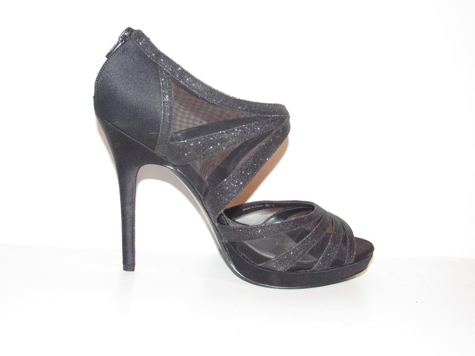 Nina Black Sparkly Straps with Mesh and Satin Shoes Nib Pumps Size ... 57d08dc6a573