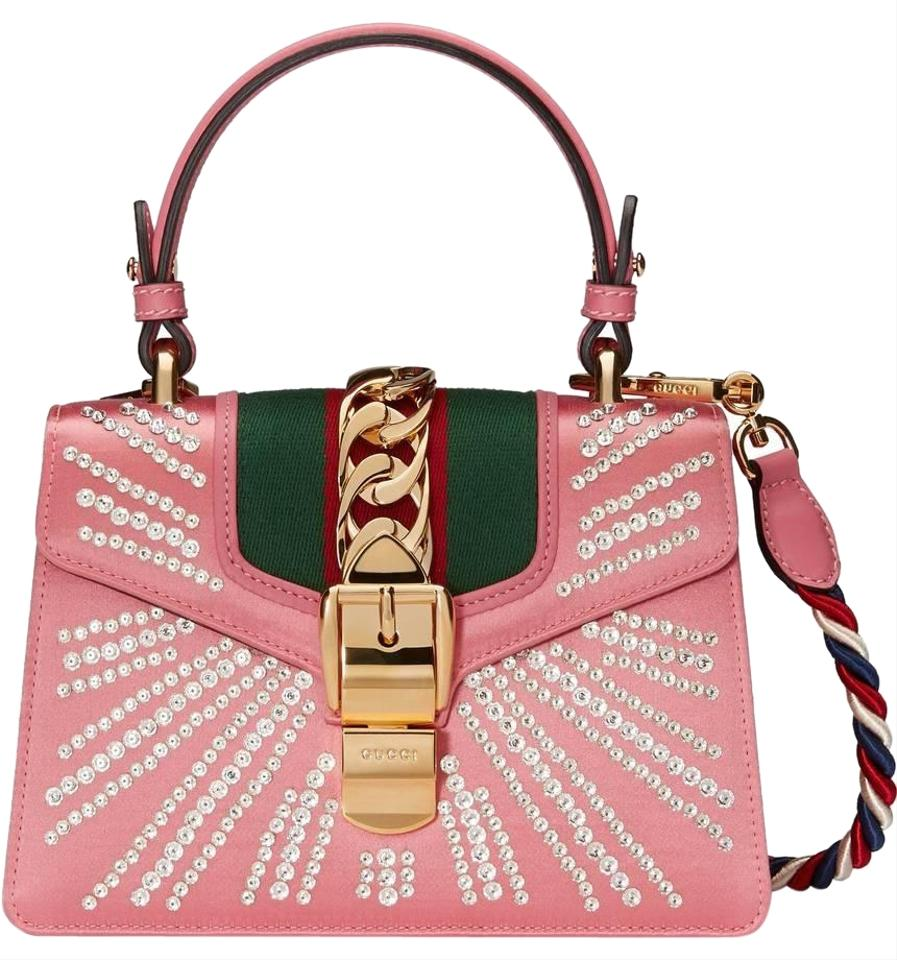 390cf29f7a7 Gucci Sylvie New Crystal Burst Top Handle Shoulder Pink Leather Cross Body  Bag