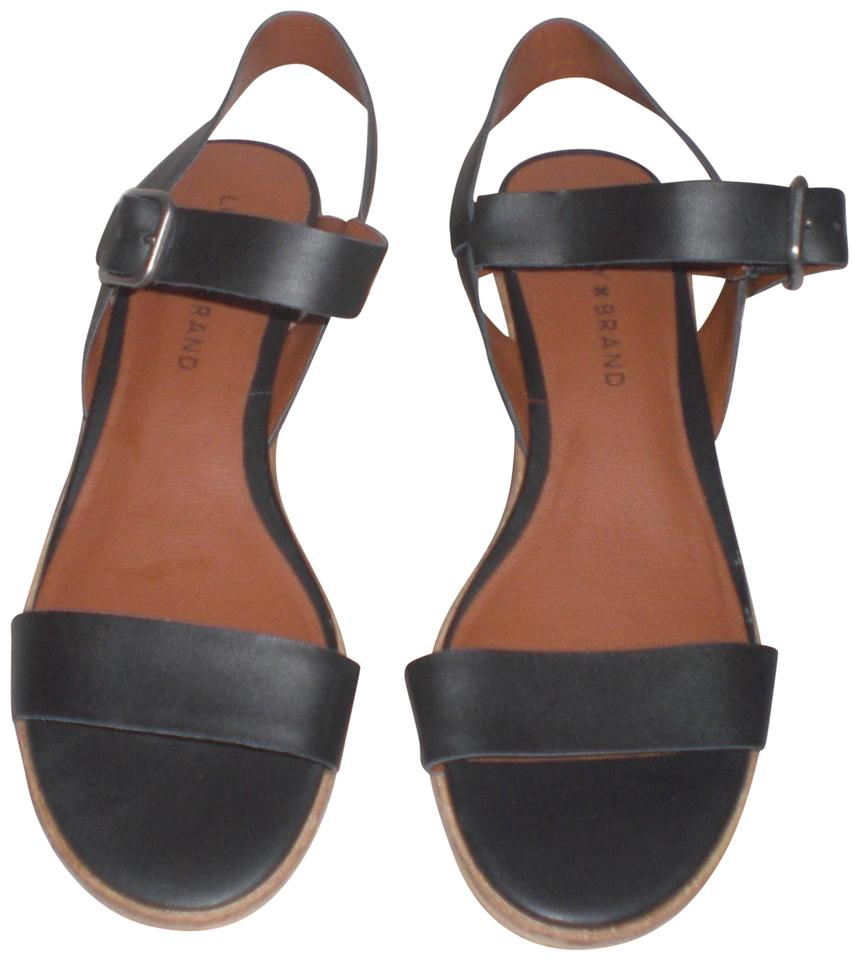 d8be50d7b17cf5 Lucky Brand Black Toni Leather Open Toe Casual Ankle Strap M Sandals ...