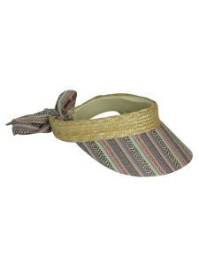 BCBGeneration BCBGeneration Womens Patterned Brim Open Crown Straw Visor in Biscuit