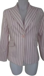 Donna Rae Pink and Brown Stripes Blazer